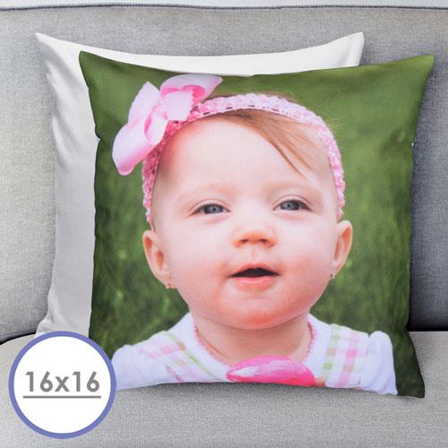 16x16 Custom Photo Gallery Pillow White Back