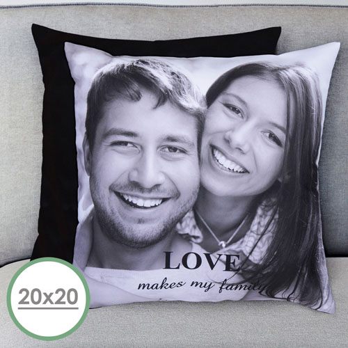 20x20 Personalized Photo Gallery Pillow Black Back