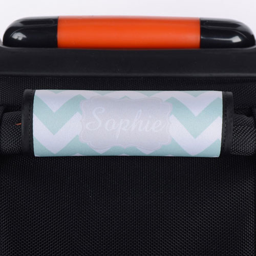 Mint Chevron Grey Personalized Luggage Handle Wrap