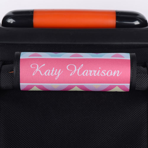 Rainbow Chevron Personalized Luggage Handle Wrap