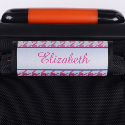 Pink Houndstooth Personalized Luggage Handle Wrap