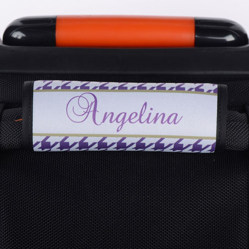 Purple Houndstooth Personalized Luggage Handle Wrap