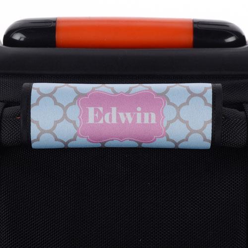 Aqua Grey Clover Personalized Luggage Handle Wrap