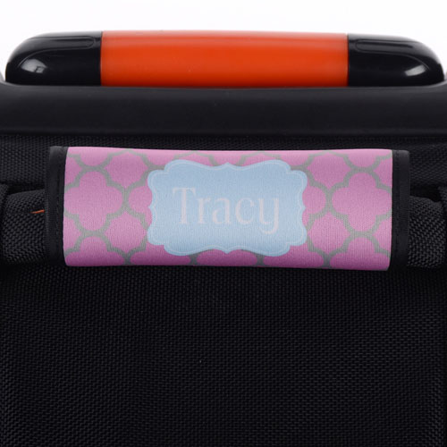 Pink Grey Clover Personalized Luggage Handle Wrap