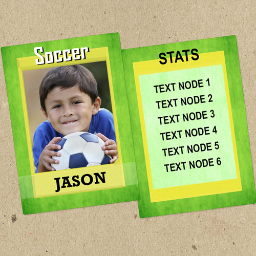 Green Soccer Personalized Photo Trading Cards  Set Of 12