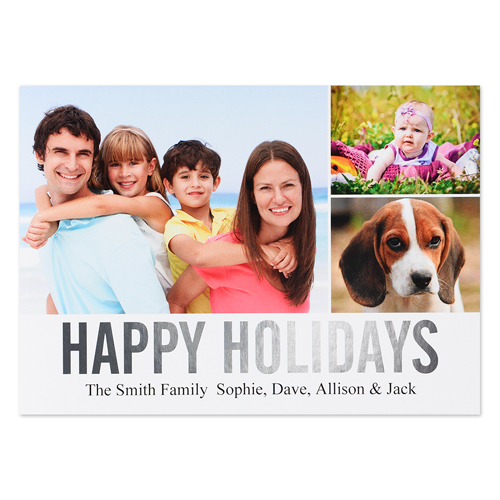 Three Collage Happy Holidays Silver Foil Card