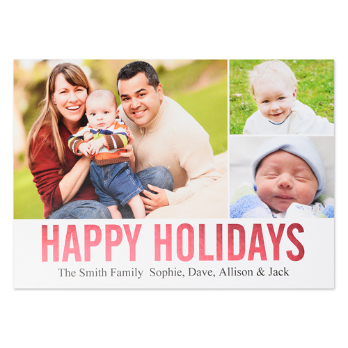 Three Collage Happy Holidays Red Foil Card