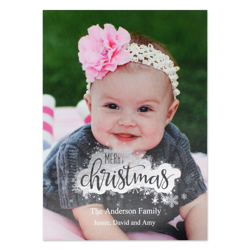 Merry Christmas Snowflake Silver Foil Card
