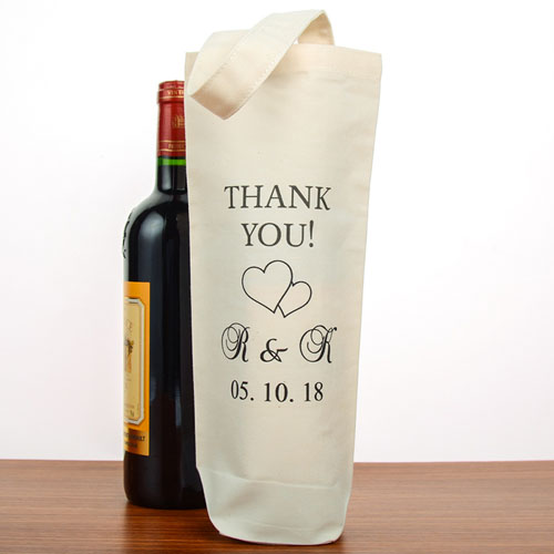 Two Hearts Wedding Thank You Personalized Cotton Wine Tote