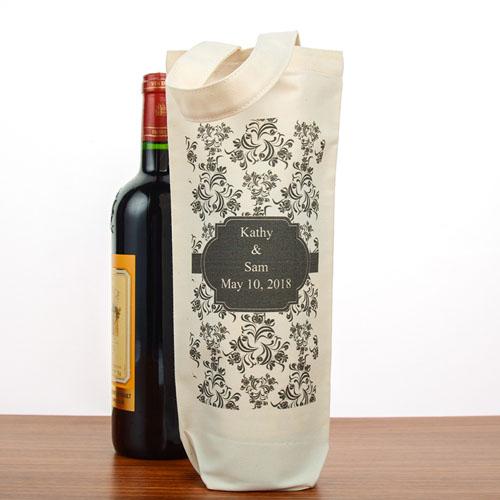 Damask Personalized Cotton Wine Tote