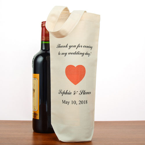 Wedding Thank You Personalized Cotton Wine Tote