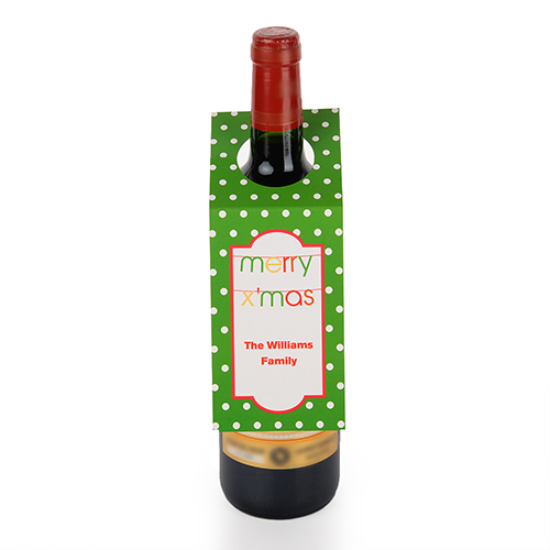 Banner Merry X'Mas Personalized Wine Tag, set of 6