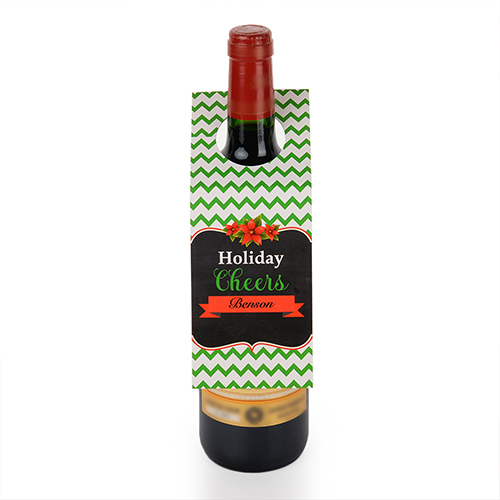 Holiday Cheers Personalized Wine Tag, set of 6