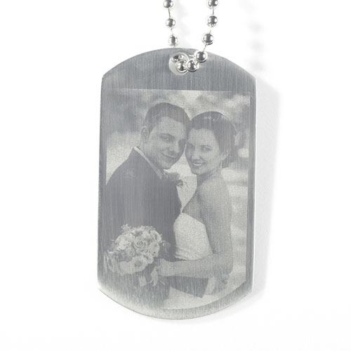 Custom Wedding Engrave Photo Dog Tag Pendant