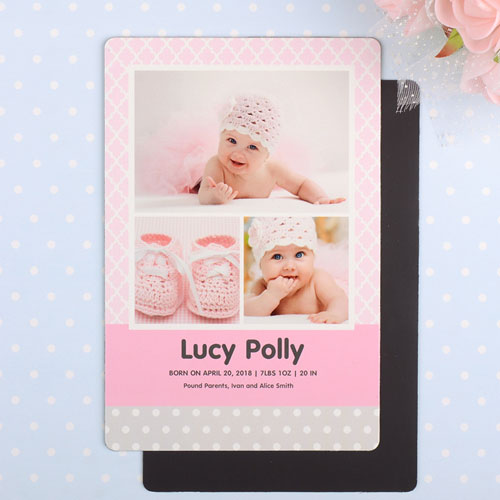 Pattern Personalized Photo Girl Birth Announcement Magnet 4x6 Large