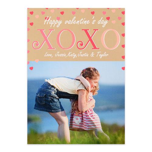 Hugs & Kisses Personalized Photo Valentine's Card, 5x7 Flat