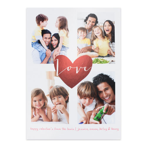 Red Foil Heart Personalized Photo Valentine's Card