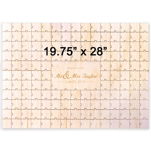19.75 x 28 Engraved Wooden Guestbook Heart-Shaped Jigsaw Puzzle (151 pieces)