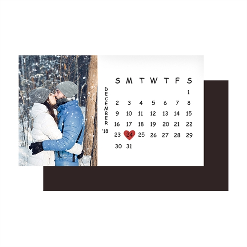 Small Calendar Save The Date Photo Magnet, White