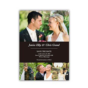 Save the Date Cards, Black 4 Photo Collage