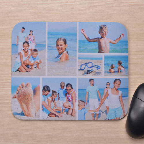 Personalized White Eight Photo Collage Design Mouse Pad