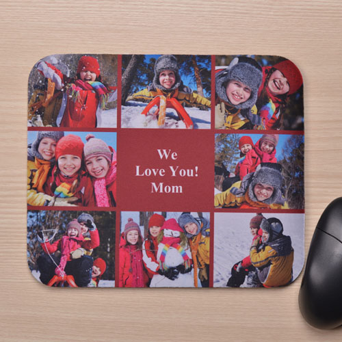 Personalized Eight Collage Mousepad, Red