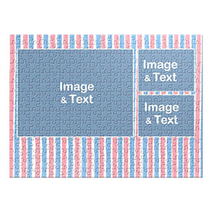 Three Collage Photo Puzzle, Pink and Blue Watercolor Stripes