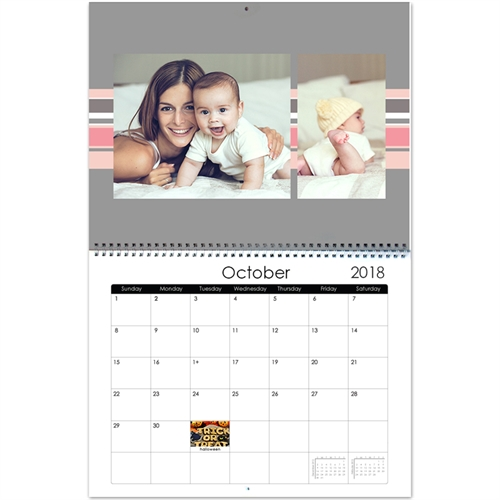 Personalized Cool Stripes, Large Wall Calendar (14