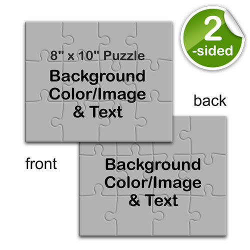 8x10 Double Sided Jigsaw, Background Color or Image and Text