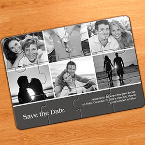 Save the Dates, Grey 6 Photo Collage