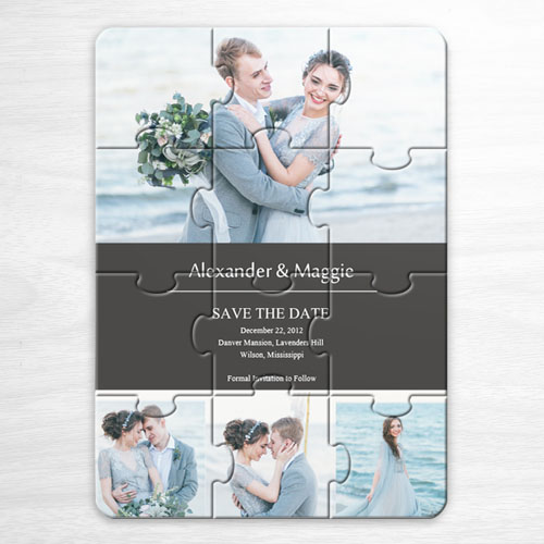 Save the Date Puzzle Invitation, Grey 4 Photo Collage