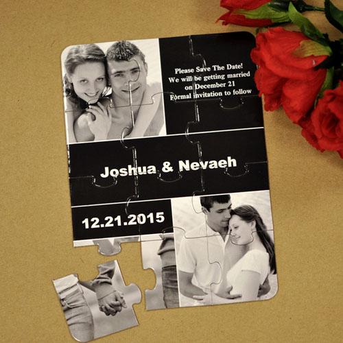 My Save the Date Puzzles, 3 Pictures Collage Black