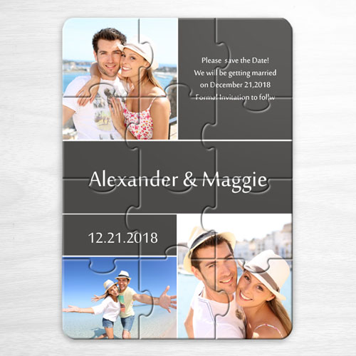 My Save the Date Puzzles, 3 Pictures Collage Grey