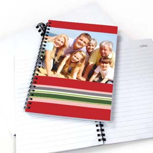 Colorful Stripes Notebook, Red