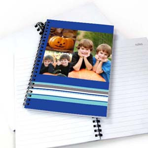 Three Collages Colorful Stripes Notebook, Blue