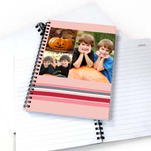Three Collages Colorful Stripes Notebook, Pink