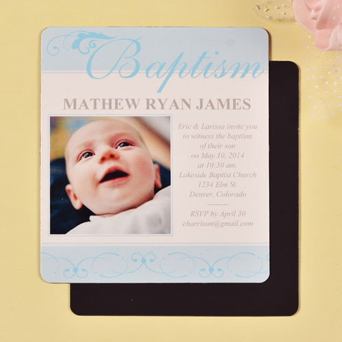3 5x4 First Cross Baby Boy Baptism Photo Magnet