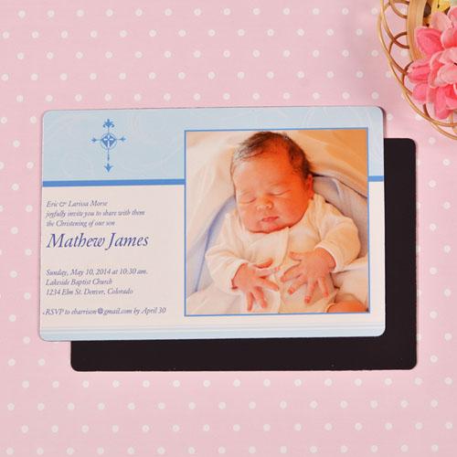 Personalized 4x6 Large Boy Christening Photo Fridge Magnets