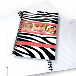 Zebra Pattern Three Collage NoteBook, Hot Pink