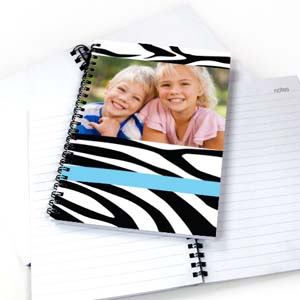 Zebra Pattern Photo NoteBook, Cool Blue
