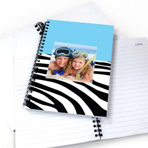 Cool Blue Zebra Pattern Photo NoteBook