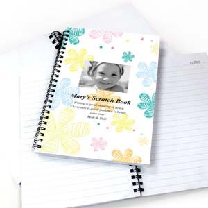 Retro Flowers Star Photo Notebook