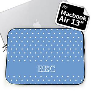 Custom Initials Sky Blue Polka Dots MacBook Air 13 Sleeve