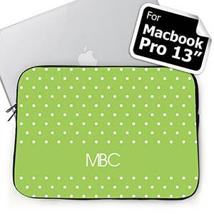Custom Initials Lime Polka Dots MacBook Pro 13 Sleeve (2015)