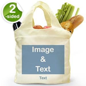 Custom Front and Back Reusable Shopping Bag, Full Landscape Image
