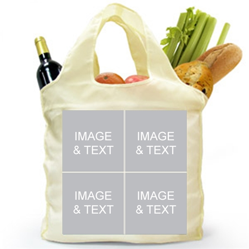 Personalized Both Sides 4 Collage Reusable Shopping Bag, Classic