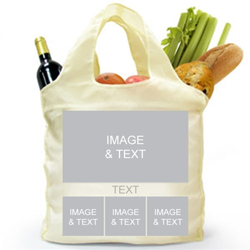 Customize 2 Sides 4 Collage Reusable Shopping Bag, Modern