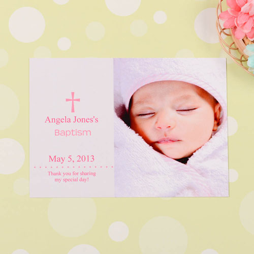Memorable Moment – Pink Baptism Photo Invitation