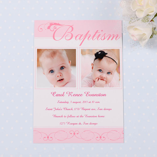 Fashionable Fonts – Soft Pink Baptism Photo Invitation