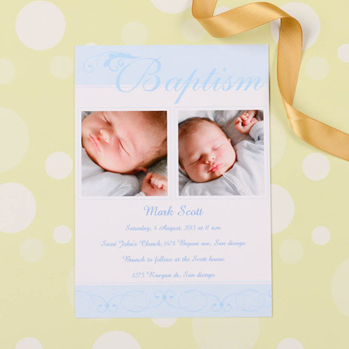 Fashionable Fonts – Blue Baptism Photo Invitation